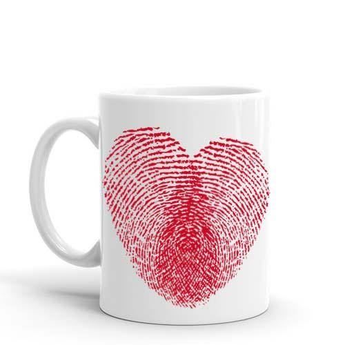 Thumb Print Heart Mug