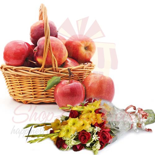 Bouquet With Apple Basket