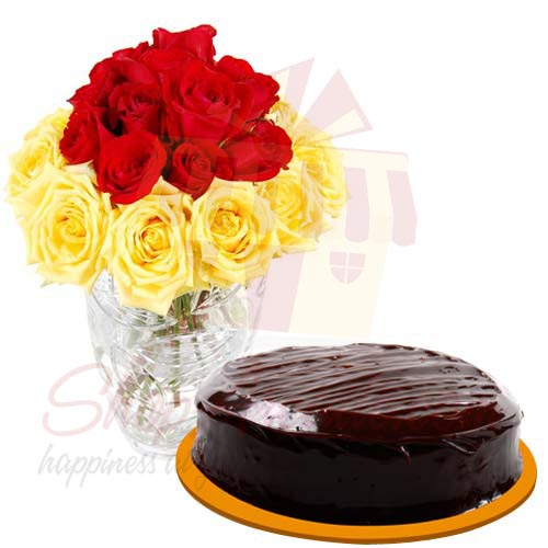 Cake With Red Yellow Roses
