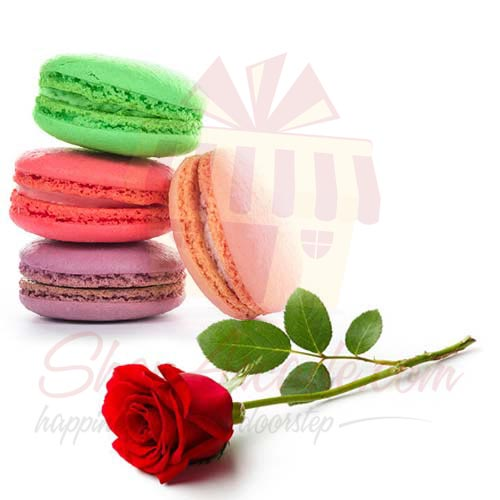 Single Rose With Macaron