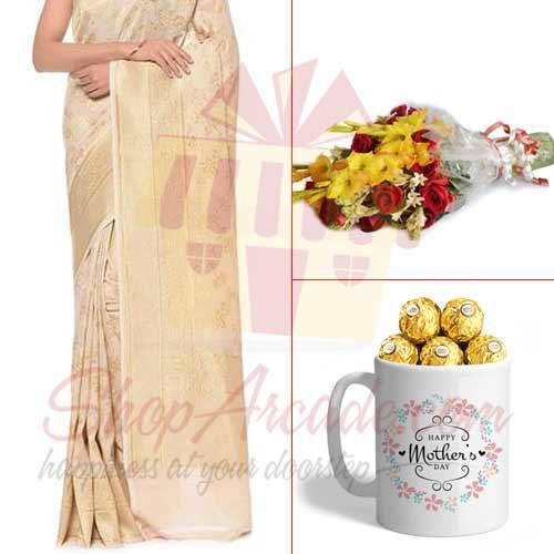 Saree Chocolate Mug Flowers For Her
