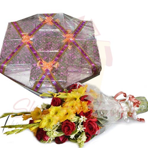 Flowers With Mithai Box Tokra