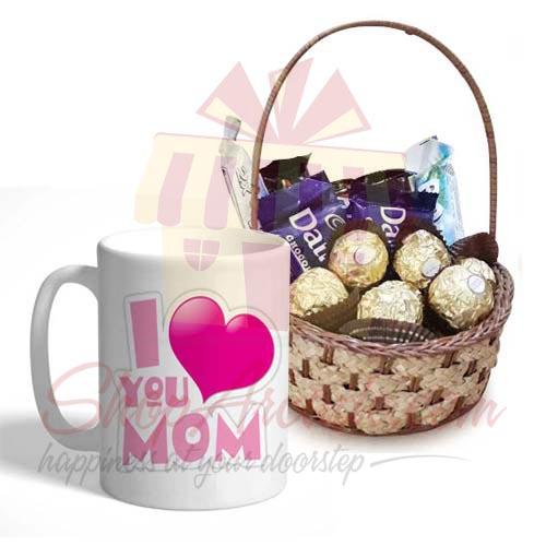 Choc Basket With Mom Day Mug