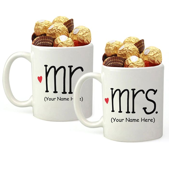 Your Name Mr and Mrs Mug Filled With Ferrero