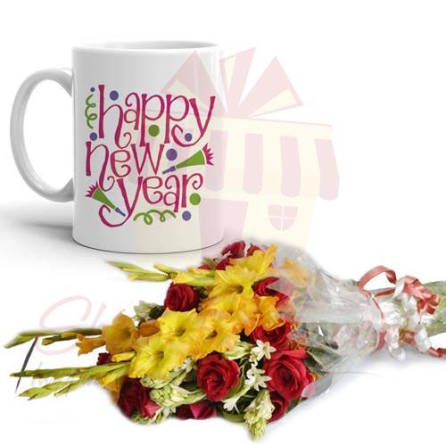 Flowers With New Year Mug