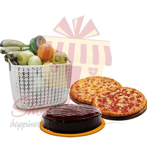 Pizza Cake And Fruits