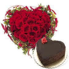 Heart Roses Heart Shape Cake