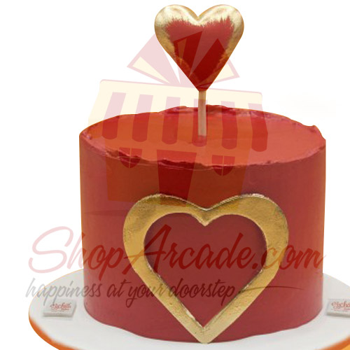 Red And Gold Heart Cake By Sachas