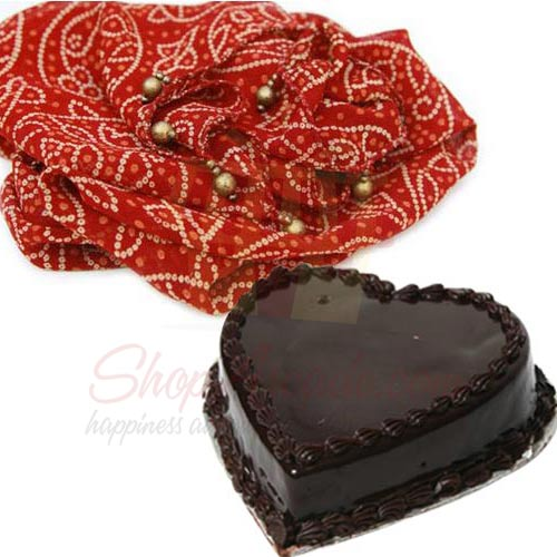 Heart Cake With Red Chunri