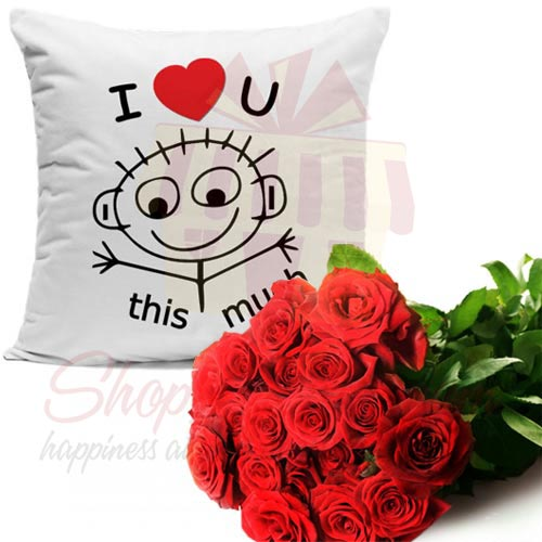 Luv Cushion With Roses