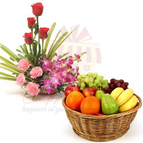 Imported Flower Basket With Fruits