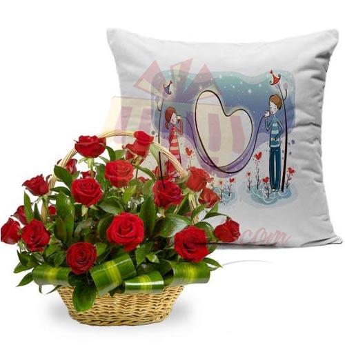 Rose Basket With Cushion