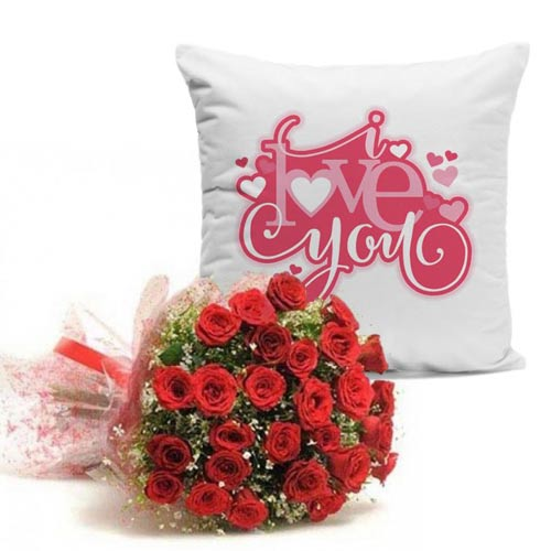 Love Cushion With Roses