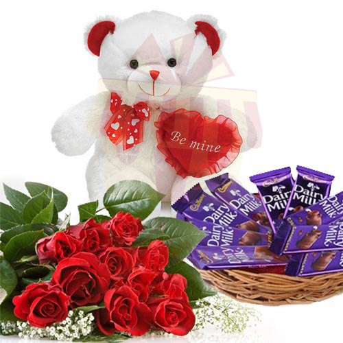 Roses With Teddy And Chocs