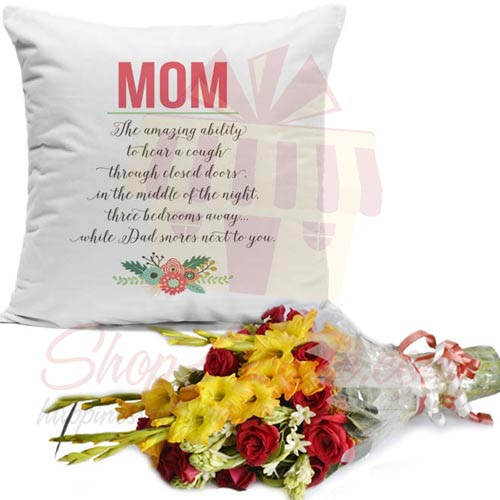 Mom Cushion With Flowers
