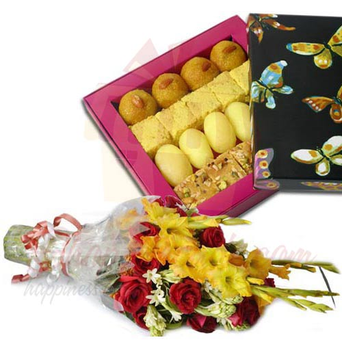 1 Kg Mix Mithai With Flowers