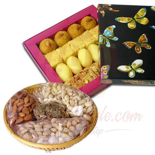 Mix Mithai With Dry Fruits