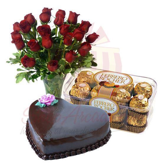 Roses Ferrero With Heart Cake