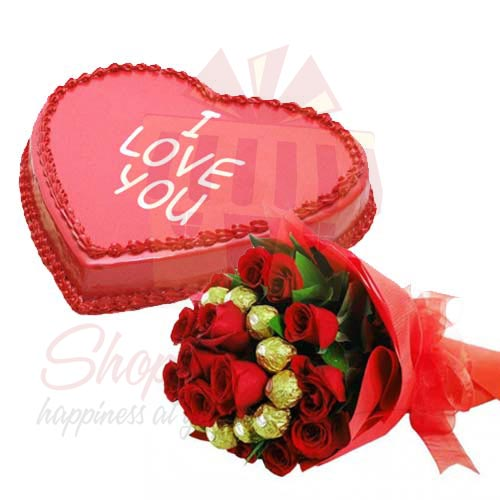 Heart Cake With Choc Bouquet