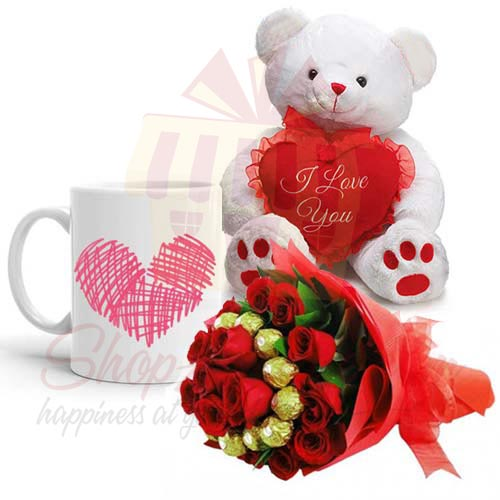 Teddy n Mug With Choc Bouquet