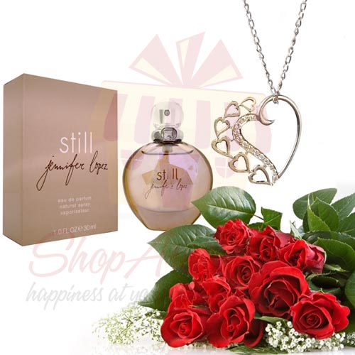 Roses With Perfume And Pendant