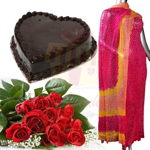 Heart Cake With Roses And Suit
