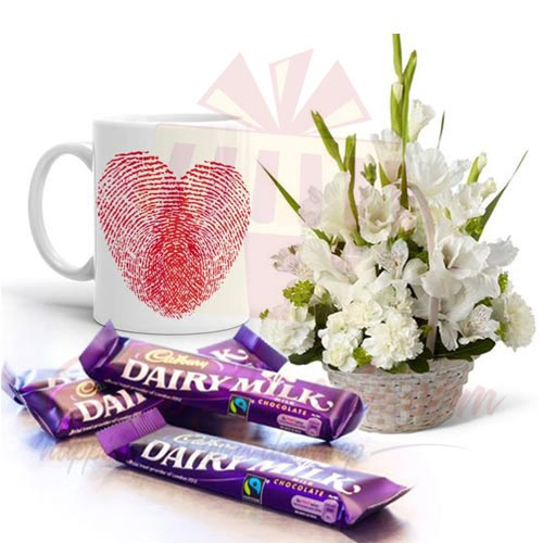 Love Mug With Chocs And Flowers