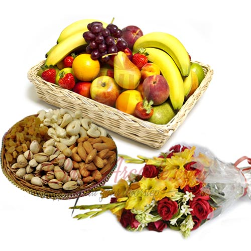 Flowers With Nuts n Fruits