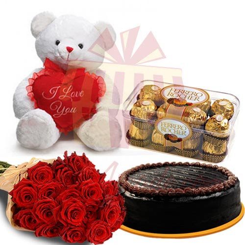 Teddy With Cake Flowers and Chocs
