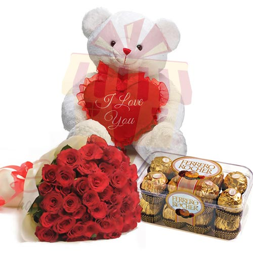 Teddy With Chocs and Roses