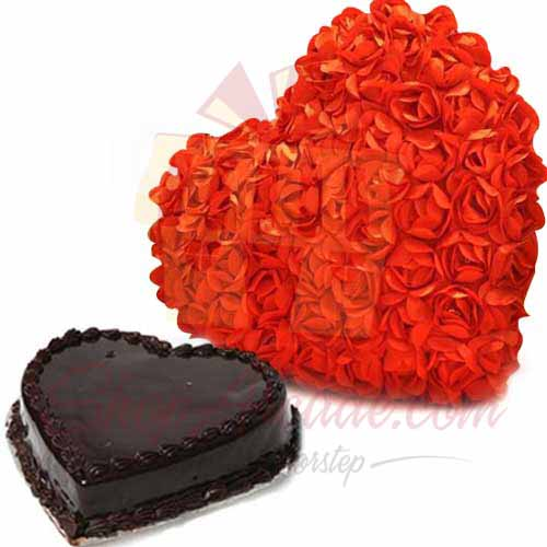Send By Occasion Rose Heart With Heart Cake Gift To Pakistan Item