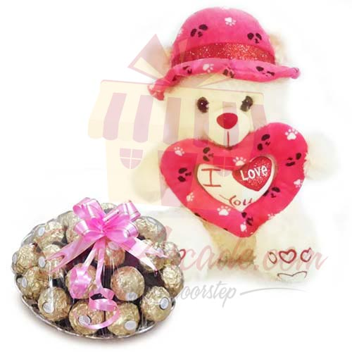 Teddy With Rocher Tray