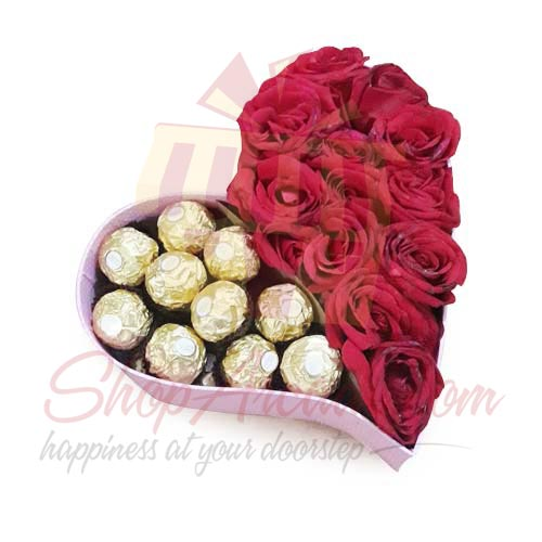 Rose And Choc Half With Teddy