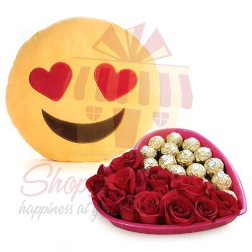 Heart Tray With Emoji Cushion