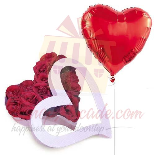 Rose Heart Box With Balloon