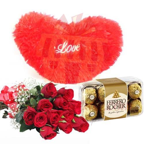 Heart Cushion Roses and Chocs