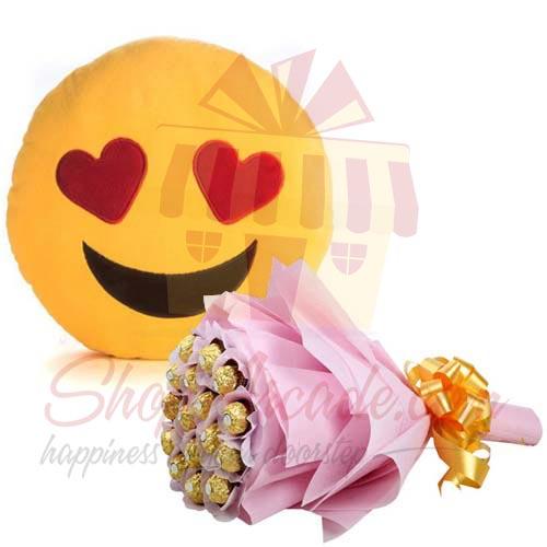 Ferrero Bouquet With Emoji Cushion