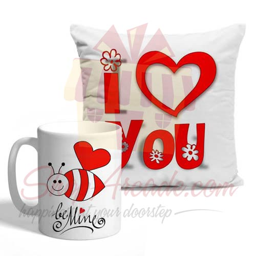 Be Mine Cushion Mug Combo