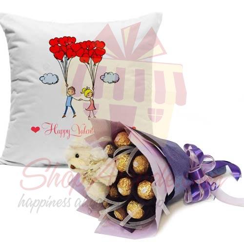 Choc Teddy Bouquet With Cushion
