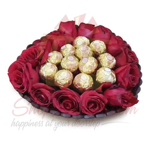 Roses With Chocs In a Basket
