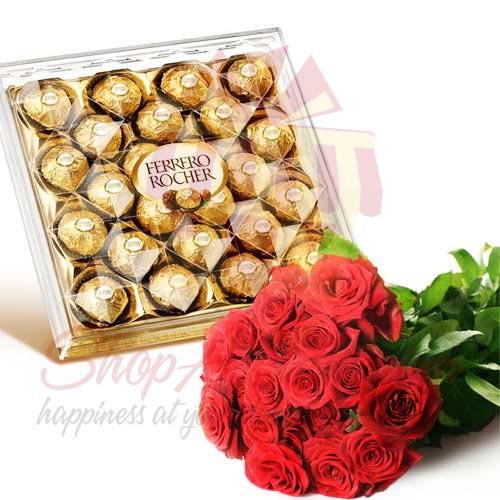 Roses With Large Ferrero Box