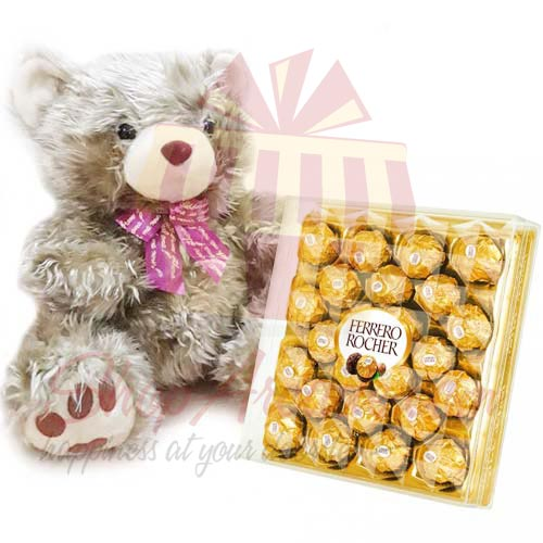 Golden Teddy With Large Ferrero Box