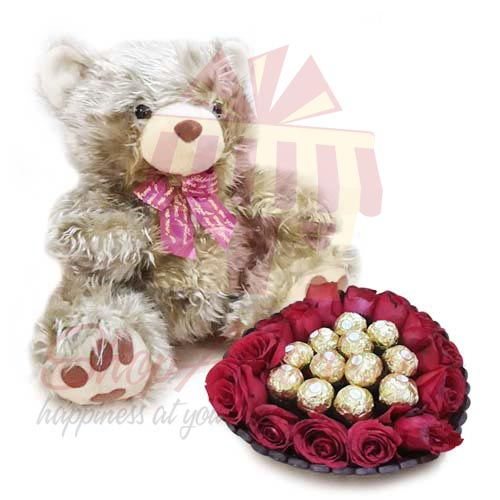 Golden Teddy With Choco Floral Basket