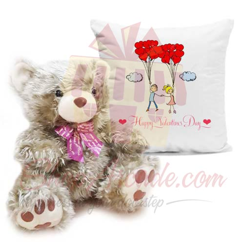 Golden Teddy With Cushion
