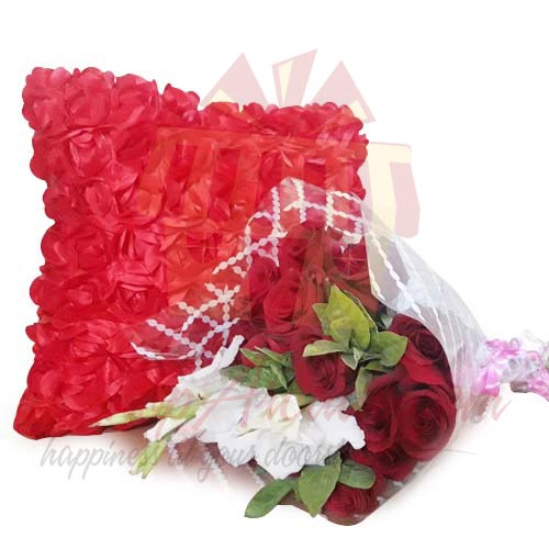 Rose Cushion With Flowers