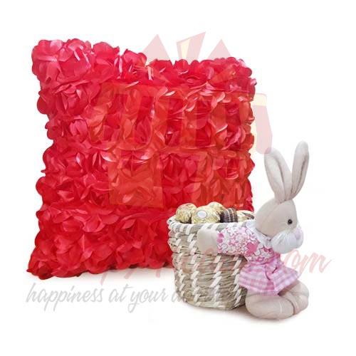 Rose Cushion With Bunny Chocs