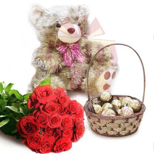 Golden Teddy With Chocs Roses