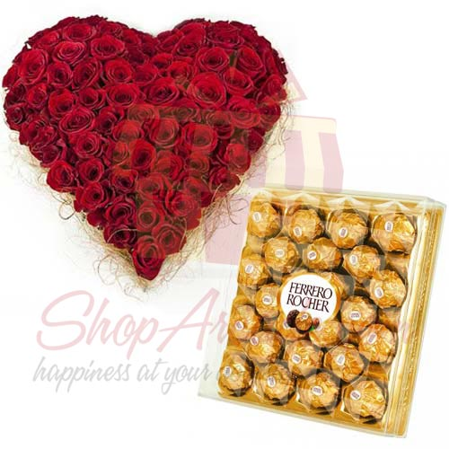 Rose Heart With Rochers (24pcs)