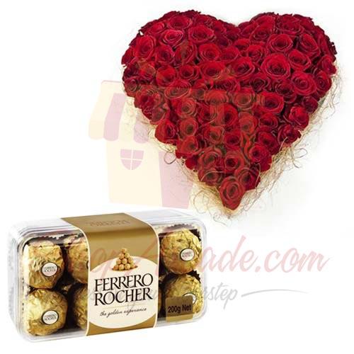 Rose Heart With Small Ferrero Box