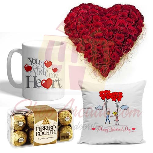 Rose Heart Mug Chocs Cushion